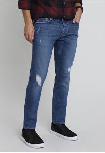Calça Jeans Masculina Bbb Certificada C2C™ Slim Destroyed Azul Escuro