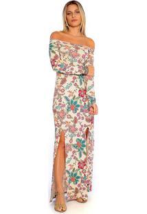 Vestido Longo Viscolycra Estampado Manga Longa Fendas