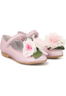 Monnalisa Sapatilha De Couro Floral - Rosa