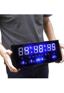 65b23759056 Relogio Para Parede Digital Led Calendario Hora Termo Azul (Rel-56)