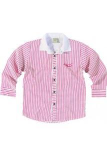 Camisa Infantil Carinhoso Masculino - Masculino-Branco+Rosa