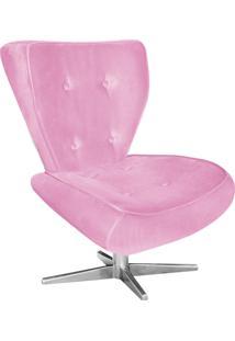 Poltrona Decorativa Tathy Suede Rosa Bebê Com Base Estrela Aço Cromado - D'Rossi