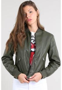 Jaqueta Feminina Bomber Acolchoada Verde Militar