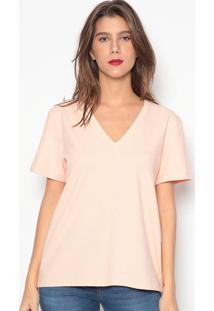 Camiseta Lisa Com Bordado- Rosa Claro- Colccicolcci