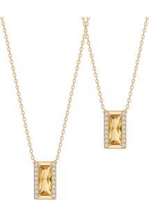 Colar Em Ouro Amarelo 18K Com Diamante, Citrino