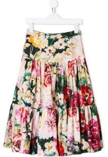 Dolce & Gabbana Kids Saia Evasê Floral - Rosa
