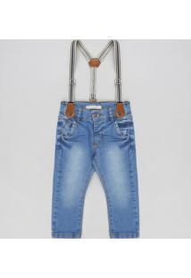 Calça Jeans Infantil Slim Com Suspensório Azul Claro