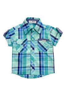 Camisa Bebê Look Jeans Xadrez Azul
