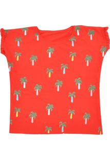 Camiseta Fun Friends Kids Menina Liso Vermelha