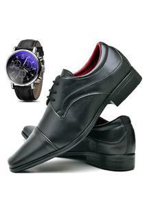Sapato Social Fashion Com Relógio Dubuy 832El Preto