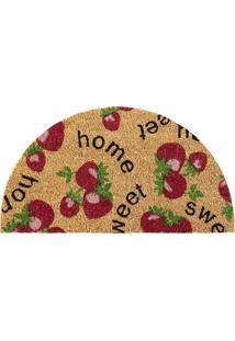 Capacho Semi Circular Sweet Home- Bege & Vermelho- 7Agi Tapetes