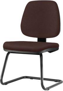 Cadeira Job Assento Courino Marrom Base Fixa Preta - 54565 - Sun House