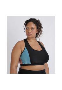 Top Feminino Plus Size Ace Esporte Nadador Com Recorte Preto