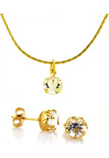 Kit Horus Import Gargantilha Brinco Banhado Ouro Amarelo 18 K - Dourado