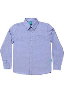 Camisa Jokenpô Infantil Em Tricoline Listrada Masculina - Masculino-Azul Claro