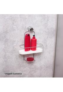 Porta Shampoo Wave- Branco & Prateado- 34,5X25X10Cm