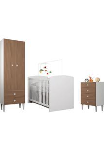 Quarto De Bebê Completo Com Berço, Cômoda E Guarda-Roupa Aconchego – Art In Móveis - Branco / Montana