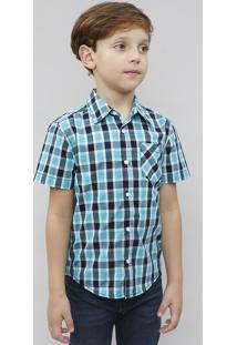 Camisa Infantil Estampada Xadrez Com Bolso Manga Curta Verde Água