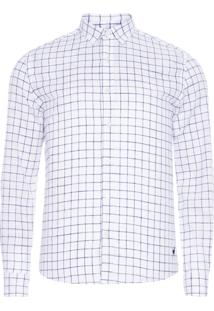 Camisa Masculina Quadrados Leve - Off White