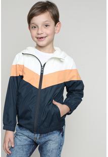 Jaqueta Corta Vento Infantil Com Recortes E Capuz Off White