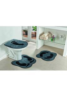 Tapete Jogo Banheiro Formato Pegada Guga Tapetes- Cinza