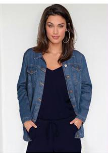 Jaqueta Jeans Oversized Azul Médio