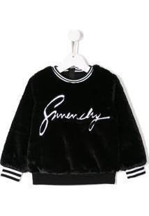 Givenchy Kids Moletom De Pelúcia Com Logo - Preto