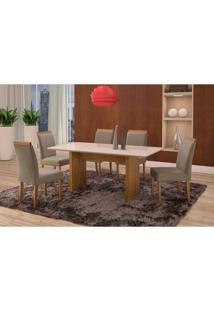 Conjunto De Mesa De Jantar Com 6 Cadeiras E Tampo De Madeira Maciça Milão Reta Iv Suede Cinza E Off White