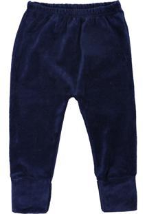 Calça De Bebê Pé Reversível Plush Básico Marinho Azul Marinho