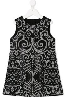 Young Versace Vestido Estampado - Preto