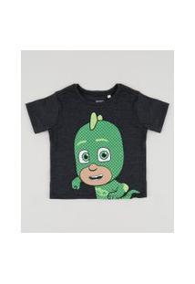 Camiseta Infantil Pj Masks Lagartixo Manga Curta Cinza Mescla Escuro