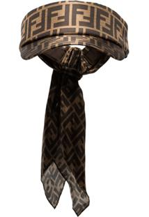 Fendi Viseira Com Logo Ff - Marrom