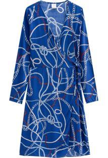 Vestido Lecimar Em Viscose Rayon Outono Inverno Manga Longa Azul - Tricae