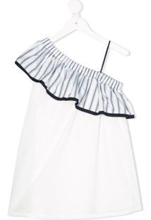 Chloé Kids Vestido Ombro Único Com Babados - Branco