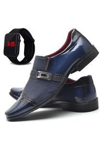 Sapato Social Asgard Com E Sem Verniz Com Relógio Led Db 814Lbm Azul