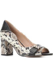 Peep Toe Couro Shoestock Salto Médio Cobra - Feminino-Off White+Preto