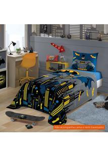 Jogo De Cama Infantil Com 2 Peças Batman Algodão Azul