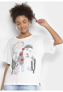 Camiseta Cantão Bordada Menina Feminina - Feminino-Branco
