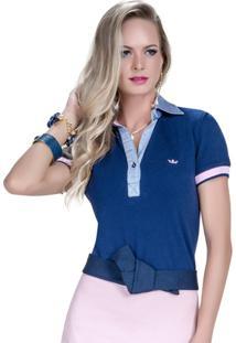 3ecf8cc7e2 Camisa Polo Principessa Nicole - Feminino-Marinho
