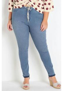 Calça Jeans Plus Size Azul Clara Cintura Alta