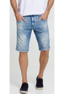Bermuda Masculina Jeans Stretch Puídos Rock & Soda