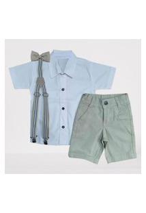 Bermuda Nude Com Suspensório E Camisa Branca Com Gravata - Roupa Batizado Referência: Ksect7Wye