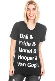 Camiseta Bloom Pintores Useliverpool Feminina - Feminino-Preto