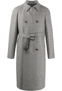 Tagliatore Houndstooth-Print Trench Coat - Cinza