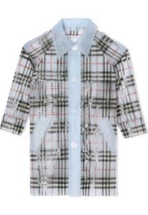Burberry Kids Trench Coat Impermeável Com Estampa Xadrez - Azul