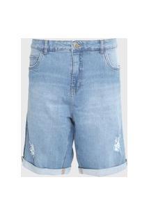 Bermuda Jeans Dzarm Reta Destroyed Azul