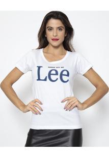 "Camiseta ""Kansas City""- Branca & Azul Marinho- Leelee"