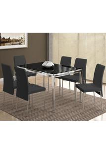 Conjunto Mesa 346 Com Vidro Preto Cromada Com 6 Cadeiras 306 Cromada/Preta Carraro