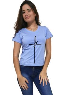Camiseta Feminina Gola V Cellos Fé Premium Azul Claro - Kanui