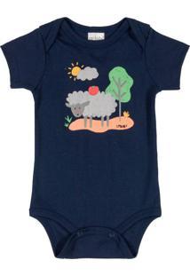 Body Bebê Manga Curta Menino Azul